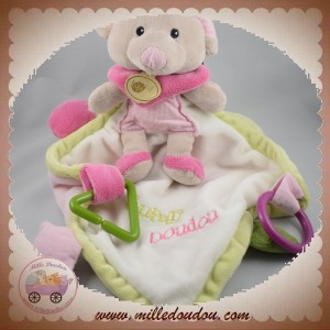 BABYNAT BABY NAT SOS DOUDOU SOURIS GRISE MOUCHOIR PLAT BLANC ROSE EVEIL SUPER DOUDOU