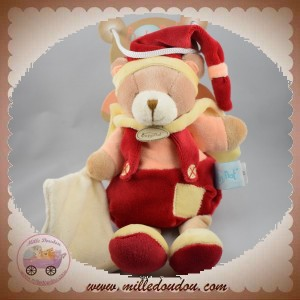 BABYNAT SOS DOUDOU OURS ORANGE SALOPETTE ROUGE JAUNE MOUCHOIR