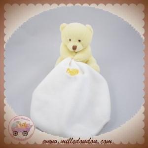 BABYNAT BABY NAT SOS DOUDOU OURS JAUNE MOUCHOIR ETIQ MARRON