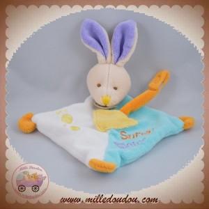 BABYNAT BABY NAT SOS DOUDOU LAPIN BEIGE PLAT LOSANGE BLEU TURQUOISE BLANC SUPER TETINE