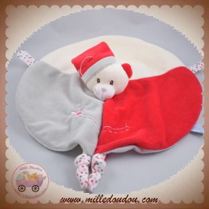GIPSY SOS DOUDOU OURS ECRU PLAT OVAL ROUGE GRIS FLEURS