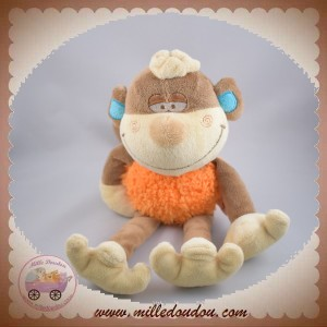 BENGY SOS DOUDOU SINGE ROI MARRON ORANGE 28 cm