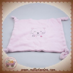 ABSORBA SOS DOUDOU MOUCHOIR PLAT ROSE CHAT NOEUD