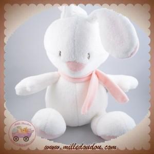 BABYSUN SOS DOUDOU LAPIN BLANC ROSE WHITE IS WHITE 26 CM