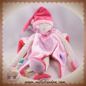 DOUDOU ET COMPAGNIE SOS OURS GRIS PLAT JAMBES ROSE FRAMBOISE TATOO DC2665