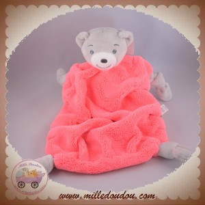 KALOO SOS DOUDOU OURS GRIS PLAT PLUME ROSEE FLUO NOEUD NEON