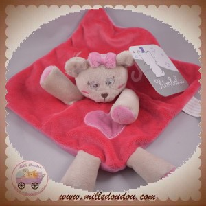 KIMBALOO SOS DOUDOU OURS PLAT ROSE COEUR VIOLET