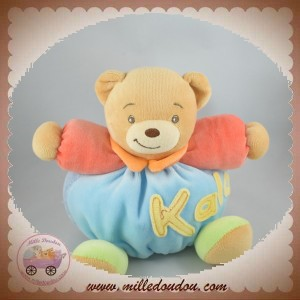 KALOO SOS DOUDOU OURS BEIGE BOULE VELOURS BLEU CLAIR ORANGE