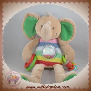 NICOTOY SOS DOUDOU ELEPHANT BEIGE HAUT TRICOT EVEIL ANNEAUX