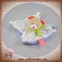 BABYNAT BABY NAT SOS DOUDOU OURS BEIGE PLAT CARRE BLANC VIOLET IRONS AU BOIS