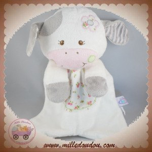 MARY MEYER BABY SOS DOUDOU VACHE PLATE BLANCHE FLEUR GRIS