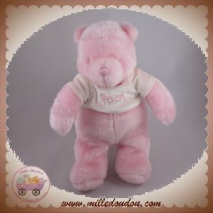 DISNEY SOS DOUDOU WINNIE L'OURSON ROSE BRILLANT PULL BLANC