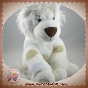 LITTLE GIRAFFE LITTLEGIRAFFE SOS DOUDOU LION BLANC TACHETE MARRON BLEU