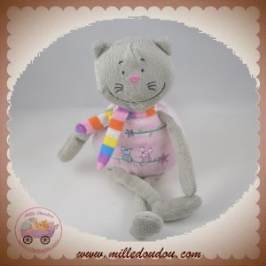 CP INTERNATIONAL DOUDOU CHAT GRIS CORPS ROSE SOURIS