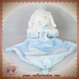 TEX SOS DOUDOU LAPIN BLANC ASSIS MOUCHOIR ROSE