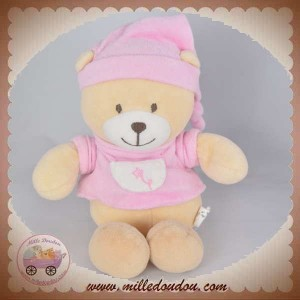 CP INTERNATIONAL SOS DOUDOU OURS PULL ROSE FLEURS