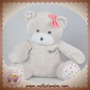 MUSTI MUSTELA SOS DOUDOU OURS PELUCHE GRIS ETOILES ROSE OR