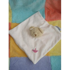 INFLUX SOS DOUDOU OURS BEIGE CORPS PLAT ROSE