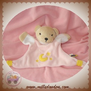 CAUSE SOS DOUDOU OURS CORPS PLAT ROSE ETOILE LUNE JAUNE