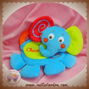CHICCO SOS DOUDOU ELEPHANT BLEU VERT DENTITION ORANGE