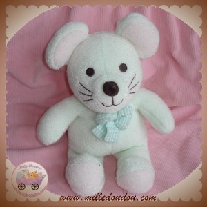 LUMINOU SOS DOUDOU SOURIS VERTE NOEUD PAPILLON JEMINI