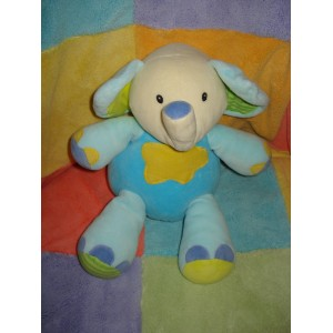 BABYSUN DOUDOU ELEPHANT BLEU NUAGE JAUNE ORANGE BABY SUN 28 cm