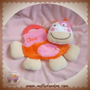 CHICCO DOUDOU VACHE PLATE ORANGE ROSE COEUR DENTITION SOS