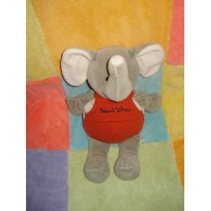 BABYNAT BABY NAT DOUDOU ELEPHANT GRIS SALOPETTE ROUGE BOUT'CHOU