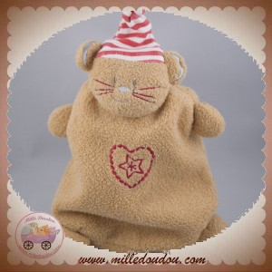 ABSORBA DOUDOU CHAT OURS PLAT MARRON COEUR ROUGE SOS