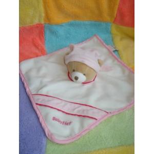 BABYNAT BABY NAT DOUDOU OURS BEIGE CORPS PLAT BLANC ROSE