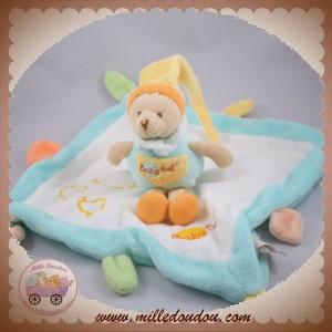 BABYNAT BABY NAT DOUDOU OURS SUR CARRE BLANC TURQUOISE