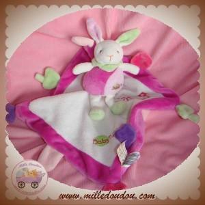 BABYNAT BABY NAT DOUDOU LAPIN SUR CARRE ROSE BLANC VERT SOS