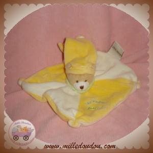 BABYNAT BABY NAT DOUDOU OURS PLAT JAUNE BLANC