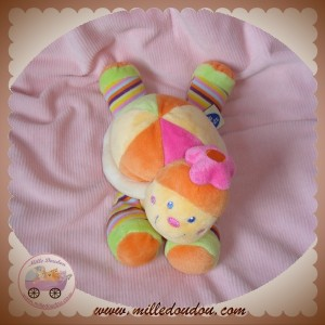 MOTS D'ENFANTS SOS DOUDOU TORTUE ORANGE ROSE FLEUR RAYEE