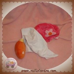 SUCRE D'ORGE SOS DOUDOU TORTUE ORANGE MOUCHOIR ROSE FLEUR