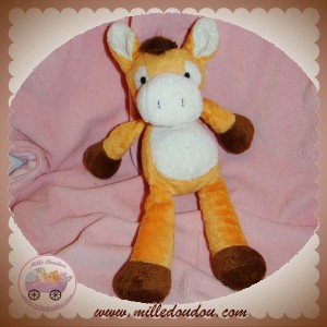 NICOTOY DOUDOU CHEVAL ANE ORANGE MARRON BLANC SOS