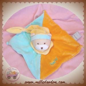 BABYNAT BABY NAT SOS DOUDOU OURS PLAT ORANGE BLEU TURQUOISE