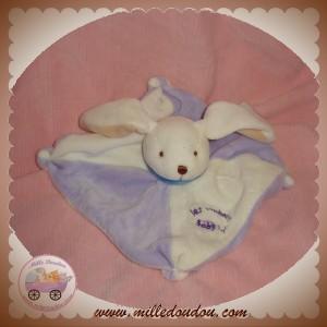 BABYNAT BABY NAT SOS DOUDOU LAPIN PLAT BLANC MAUVE LES BONBONS