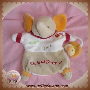BABYNAT BABY NAT DOUDOU ELEPHANT MARIONNETTE ECRU BEIGE MALICE SOS