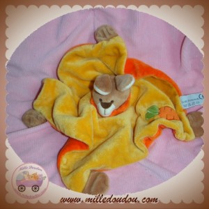 SOFT FRIENDS SOS DOUDOU PELUCHE LAPIN PLAT ORANGE CAROTTE MARRON