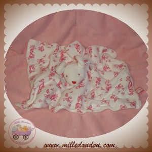 SERGENT MAJOR DOUDOU SOURIS BLANCHE CORPS PLAT BRODERIE ROSE ROUGE