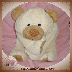 NICOTOY SOS DOUDOU OURS POLAIRE ECRU BY ANIMAL ALLEY 40 cm