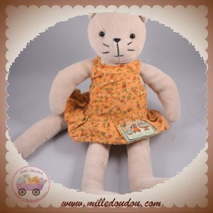 MOULIN ROTY SOS DOUDOU CHAT CHATTE AGATHE AVEC ROBE ORANGE
