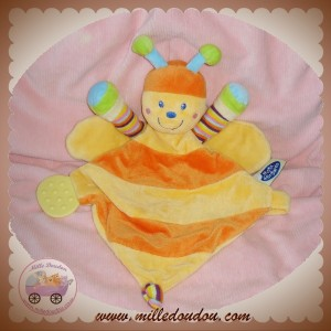 MOTS D'ENFANTS DOUDOU ABEILLE PAPILLON PLATE ORANGE JAUNE DENTITION