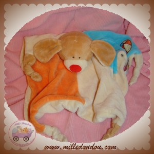 LASCAR SOS DOUDOU CHIEN MARRON PLAT ECRU ORANGE BLEU