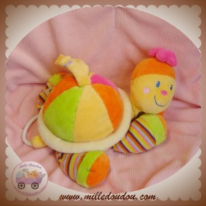 MOTS D'ENFANTS DOUDOU TORTUE MUSICAL ORANGE ROSE SOS