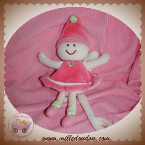 SUCRE D'ORGE SOS DOUDOU POUPEE FEE PAPILLON ROSE ATTACHE TETINE