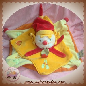 DOUDOU ET COMPAGNIE CLOWN PLAT ORANGE JAUNE SOL DO RE MI