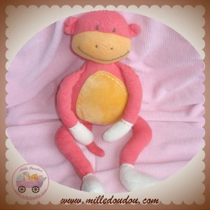 JACADI DOUDOU SINGE ROUGE ORANGE SOS