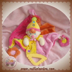 NICOTOY SOS DOUDOU LUTIN CLOWN PLAT ROSE JAUNE ATTACHE TETINE